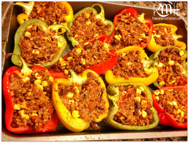 ... spoon, stuff the cooled bell pepper halves with the meat mixture