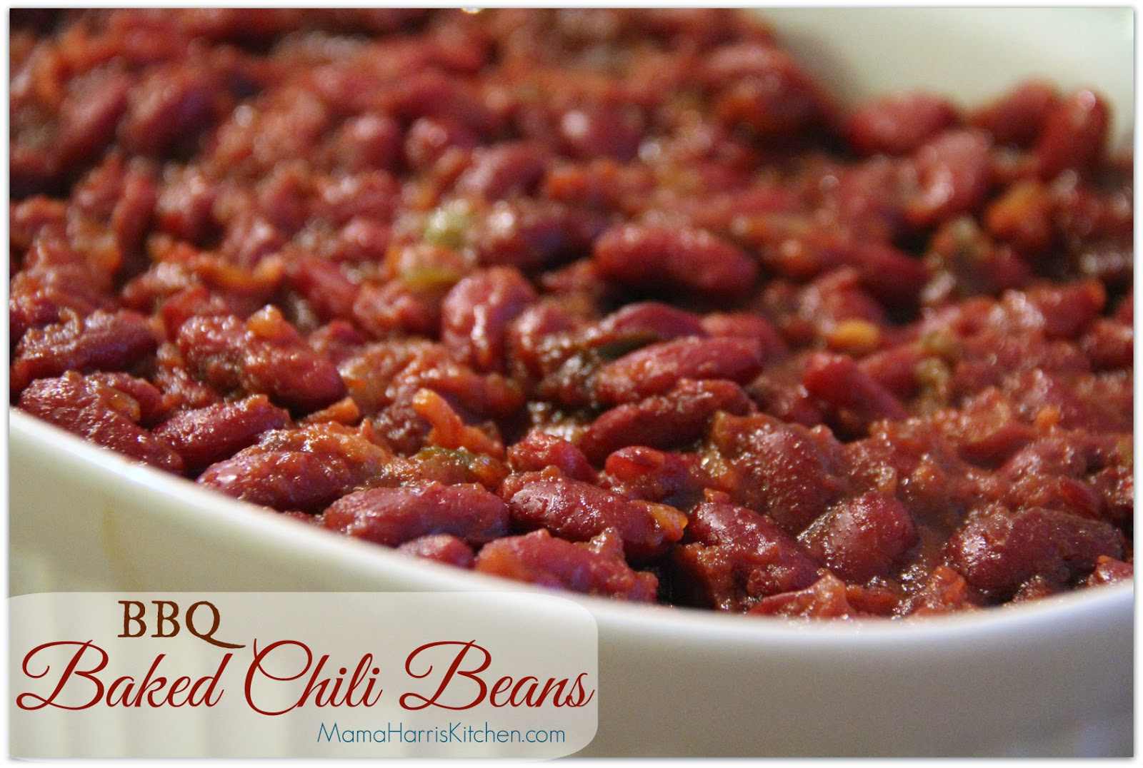"""BBQ Baked Chili Beans, perfect for the Big Day! Part of Mama Harris' Kitchen 3 """"Must-Have"""" Foods for the Big Game!"""