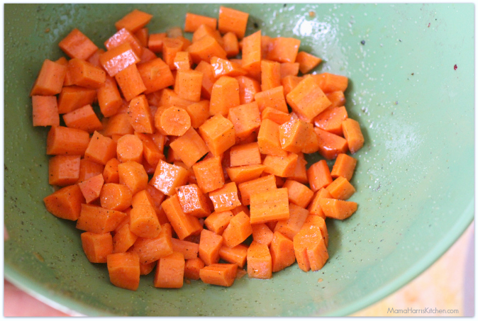 the beets and sweet potatoes are roasting, peel and dice the carrots ...