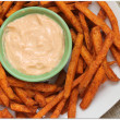 spicy sweet potato fries with creamy sweet sriracha sauce 2 quick dips for game time grub #gametimegrub #ad - Mama Harris' Kitchen
