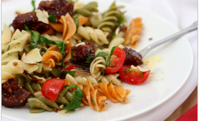 Vegetarian Italian Sausage with tri-color rotini - Mama Harris' Kitchen