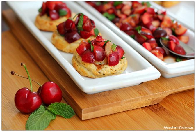 Sweet & Savory Cherry Puff Pastry Bruschetta | Mama Harris' Kitchen