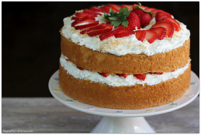 Strawberries and cream angel food cake with toasted coconut Driscoll's ...