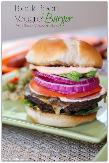 black bean burger with chipotle mayonnaise #KingsfordFlavor #cbias (AD ...