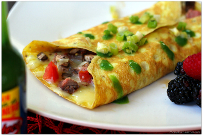 Easy Steak Omelette with Mushroom and Tomato | Mama Harris' Kitchen