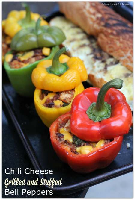 Chili Cheese Grilled and Stuffed Bell Peppers | Mama Harris' Kitchen