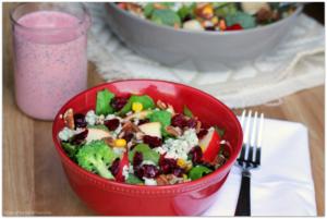 Crunchy Broccoli-Apple Salad with Creamy Raspberry Poppy Seed Dressing #BetterWithCraisins AD | Mama Harris' Kitchen