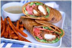 Honey Mustard Crispy Chicken Wrap with Sweet Potato Fries #NewComfortFood AD | Mama Harris' Kitchen